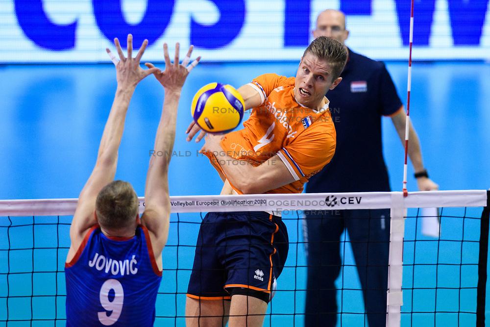 06-01-2020 NED: CEV Tokyo Volleyball European Qualification Men, Berlin<br /> Match Serbia vs. Netherlands 3-0 / Thijs Ter Horst #4 of Netherlands