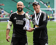LONDON, ENGLAND - Sunday 11 May 2014, New Zealand captain DJ Forbes with coach Gordon Tietjens with the winners trophy of the Marriott London Sevens rugby tournament being held at Twickenham Rugby Stadium in London as part of the HSBC Sevens World Series.<br /> Photo by Roger Sedres/ImageSA