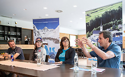 11.06.2019, Kals am Grossglockner, AUT, Laura Stigger Bike Challenge, Pressekonferenz, im BildAlois Rathgeb (Gemnova), Laura Stigger, BGM Erika Rogl, Franz Theurl (TVBO) // Alois Rathgeb (Gemnova), Laura Stigger, BGM Erika Rogl, Franz Theurl (TVBO) during a press conference for the Laura Stigger Bike Challenge in Kls am Grossglockner. Austria on 2019/06/11. EXPA Pictures © 2019, PhotoCredit: EXPA/ Johann Groder