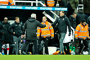Newcastle United manager Steve Bruce and Southampton manager Ralph Hasenhuttl shake hands following the Premier League match between Newcastle United and Southampton at St. James's Park, Newcastle, England on 8 December 2019.