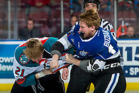 KELOWNA, CANADA - FEBRUARY 12: Braydon Buziak #10 of the Victoria Royals drops the gloves with Kyle Pow #21 of the Kelowna Rockets  on February 12, 2018 at Prospera Place in Kelowna, British Columbia, Canada.  (Photo by Marissa Baecker/Shoot the Breeze)  *** Local Caption ***