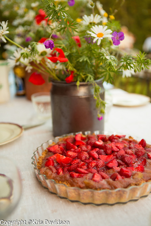 Strawberry cake for Midsommar festivities on Öland, a Swedish island in the Baltic Sea. The longest day of the year is a beloved holiday in Sweden; the cities are empty as the locals take to the countryside for a day of dancing and singing with family and friends.