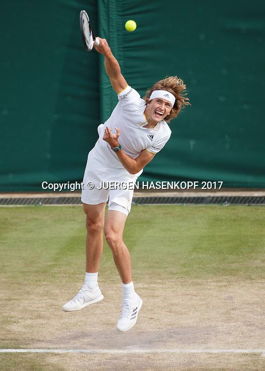 ALEXANDER ZVEREV (GER),Aufschlag von oben, <br /> <br /> <br /> Tennis - Wimbledon 2017 - Grand Slam ITF / ATP / WTA -  AELTC - London -  - Great Britain  - 10 July 2017.