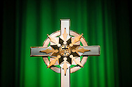 The LWML cross adorns the stage at 36th Biennial Convention of the Lutheran Women's Missionary League on Friday, June 26, 2015, at the Iowa Events Center in Des Moines, Iowa. LCMS Communications/Erik M. Lunsford