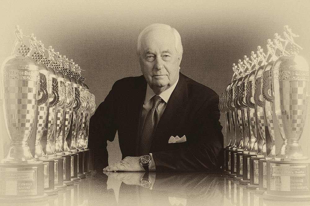 Portraits of Penske Racing team owner Roger Penske with his 16 Baby Borg Trophy. 16 time winner of the Indy 500 and the BorgWarner Trophy