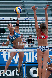 Erika Fabjan of Slovenia vs Inguna Minusa of Latvia at A1 Beach Volleyball Grand Slam tournament of Swatch FIVB World Tour 2011, on August 2, 2011 in Klagenfurt, Austria. (Photo by Matic Klansek Velej / Sportida)