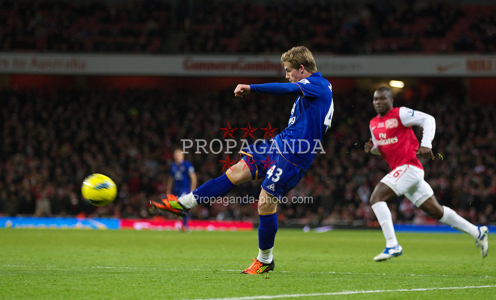 LONDON, ENGLAND - Saturday, December 10, 2011: Everton's Conor McAleny makes his debut during the Premiership match against Arsenal at the Emirates Stadium London. (Pic by Phil Cole/Propaganda)