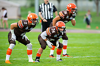 KELOWNA, BC - AUGUST 17:  Garret CAPE #2, Jonah Williams #34 and Mitch Walz #31 of Okanagan Sun line up against the Westshore Rebels  at the Apple Bowl on August 17, 2019 in Kelowna, Canada. (Photo by Marissa Baecker/Shoot the Breeze)