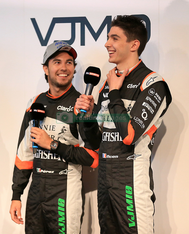 Sahara Force India drivers Sergio Perez (left) and Esteban Ocon during the Force India 2017 Car Launch at Silverstone, Towcester.