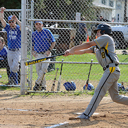 Staff photos by Tom Kelly IV<br /> Interboro's Kyle Yousif (8) hits an rbi single to the outfield during the Academy Park at Interboro baseball game Tuesday afternoon.