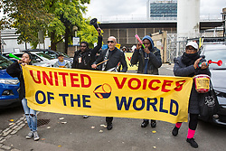 London, UK. 29 October, 2019. Outsourced workers belonging to the United Voices of the World (UVW) trade union march around their workplace at St Mary's Hospital Paddington. Outsourced via Sodexo, one of the world's largest multinational corporations, around 200 migrant cleaners, porters and caterers are striking for equal pay, conditions and treatment with broadly equivalent NHS colleagues who are paid £6,000-10,000 p.a. more and have scheduled 12 days of strike action.