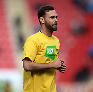 Michael Madl of Fulham wears a Kick It Out t-shirt whilst warming up prior the Sky Bet Championship match at the New York Stadium, Rotherham<br /> Picture by James Wilson/Focus Images Ltd 07709 548263<br /> 01/04/2017