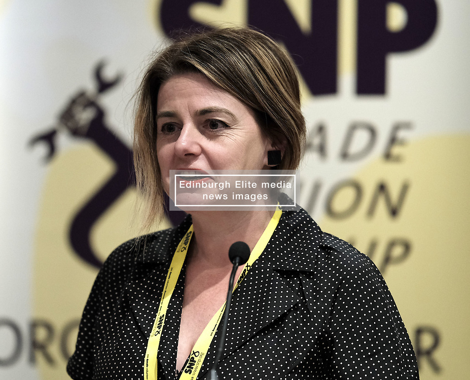 SNP Spring Conference, Saturday 27th April 2019<br /> <br /> SNP Trades Union Group fringe meeting<br /> <br /> The Scottish Trade Union campaign to tackle Corporate Homicide is as old as the Scottish Parliament.  From 2006 the received wisdom has been because any Act would relate to H&S, which is not devolved, the Scottish Parliament may not have legislative competence.<br /> <br /> This view was clearly politically motivated at the time but it has remained received wisdom within the civil service.<br /> <br /> The Trade Unions' campaign however will not go away.  Trade Unions' believe there is a solution using a previously untested section of the Scotland Act.<br /> <br /> We call upon the political will of the Scottish Government to look at this alternative and right the political wrongs of previous Scottish Executives - it is a win-win.<br /> <br /> This is arranged jointly by the TUG and Scottish Hazards and the Speakers are:<br /> <br /> Patrick McGuire, Legal Advisor to Scottish Hazards<br /> <br /> Lynn Henderson,  Past President, Scottish Trades Union Congress<br /> <br /> Chris Stephens MP, Shadow SNP Spokesperson (Fair Work and Employment)<br /> <br /> Chair:  Greg McCarra, Convener, SNP Trade Union Group<br /> <br /> Pictured:  Lynn Henderson<br /> <br /> Alex Todd   Edinburgh Elite media