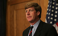 Representative Patrick Kennedy, (D RI),  makes a statement on his accident, addiction, and his decision to seek additional treatment in the House Radio and Television Gallery at the US Capitol on May 5, 2006.  Photograph: Dennis Brack