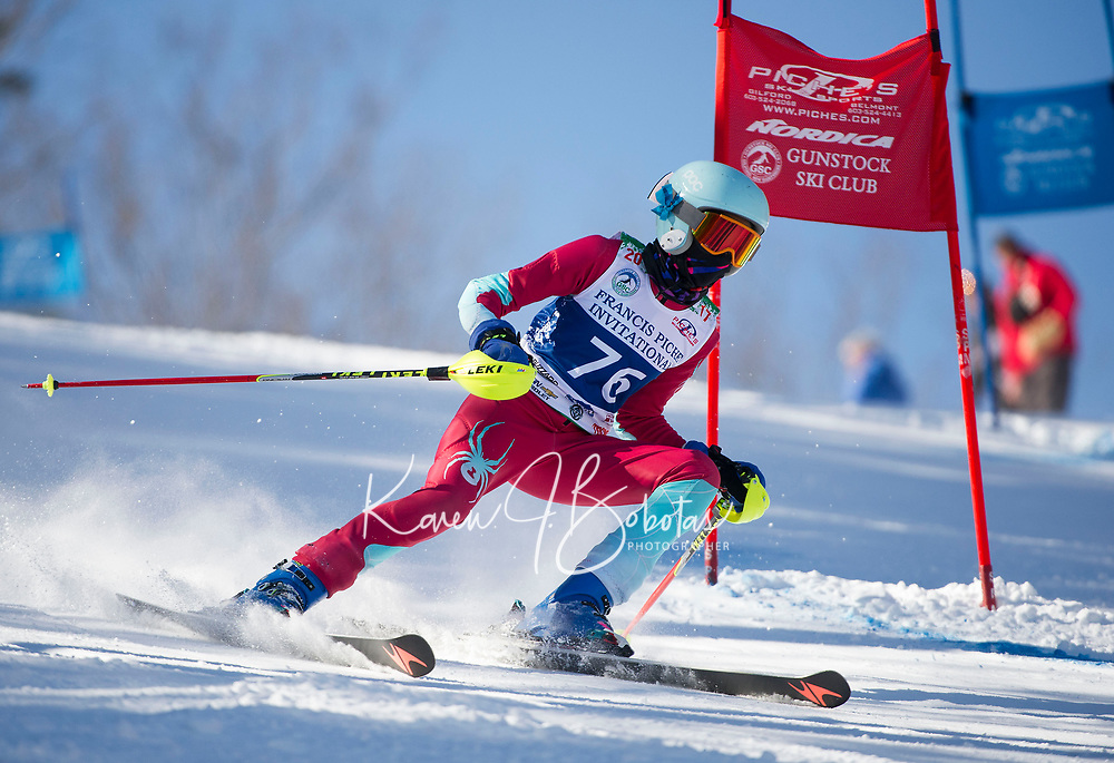 Francis Piche Invitational U12 girls first run with Gunstock Ski Club.  <br /> &copy;2017 Karen Bobotas Photographer