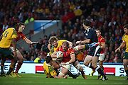 Wales Alun Wyn Jones getting tackled after sustained pressure from Wales during the Rugby World CupPool A match between Australia and Wales at Twickenham, Richmond, United Kingdom on 10 October 2015. Photo by Matthew Redman.