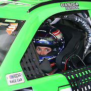 Danica Patrick, driver of the #7 GoDaddy Chevrolet is seen in her car during practice for the 60th Annual NASCAR Daytona 500 auto race at Daytona International Speedway on Friday, February 16, 2018 in Daytona Beach, Florida.  (Alex Menendez via AP)