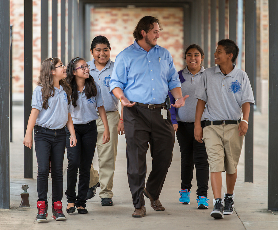 Orlando Reyna talks with sixth graders at Deady Middle School, September 2, 2014.
