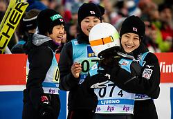 Nozomi Maruyama of Japan, Yuka Seto of Japan, Sara Takanashi of Japan, Yuki Ito of Japan celebrate during Team Competition at Day 2 of World Cup Ski Jumping Ladies Ljubno 2019, on February 9, 2019 in Ljubno ob Savinji, Slovenia. Photo by Matic Ritonja / Sportida