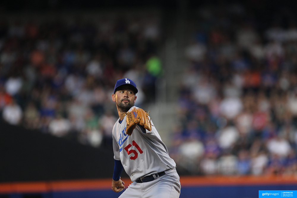 Pitcher Zach Lee, Los Angeles Dodgers, pitching during the New York Mets Vs Los Angeles Dodgers MLB regular season baseball game at Citi Field, Queens, New York. USA. 25th July 2015. Photo Tim Clayton