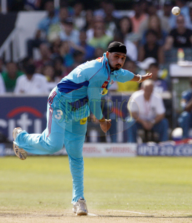 DURBAN, SOUTH AFRICA - 25 April 2009. Harbhajan Singh bowls during the IPL Season 2 match between the Mumbai Indians and the Deccan Chargers held at Sahara Stadium Kingsmead, Durban, South Africa...