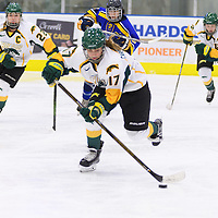 1st year forward Lilla Carpenter-Boesch (17) of the Regina Cougars in action during the Women's Hockey Home Game on October 15 at Co-operators arena. Credit: Arthur Ward/Arthur Images