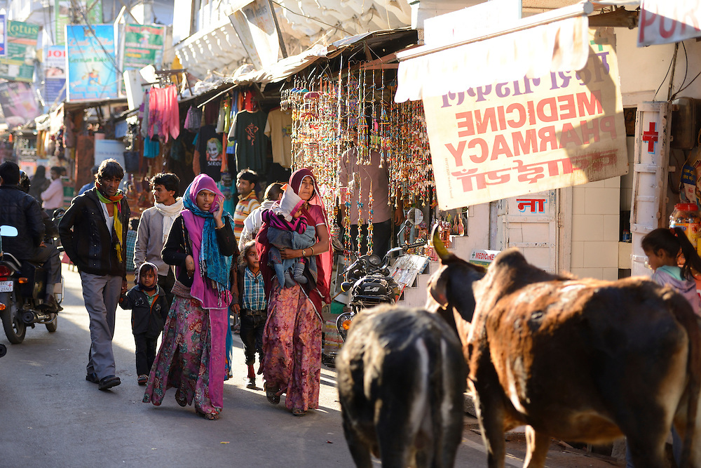 Main street,Pushkar, India,Asia.
