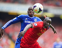 27.04.2014, Anfield, Liverpool, ENG, Premier League, FC Liverpool vs FC Chelsea, 36. Runde, im Bild Liverpool's Mamadou Sakho in action against Chelsea's Demba Ba // during the English Premier League 36th round match between Liverpool FC and Chelsea FC at Anfield in Liverpool, Great Britain on 2014/04/27. EXPA Pictures &copy; 2014, PhotoCredit: EXPA/ Propagandaphoto/ David Rawcliffe<br /> <br /> *****ATTENTION - OUT of ENG, GBR*****