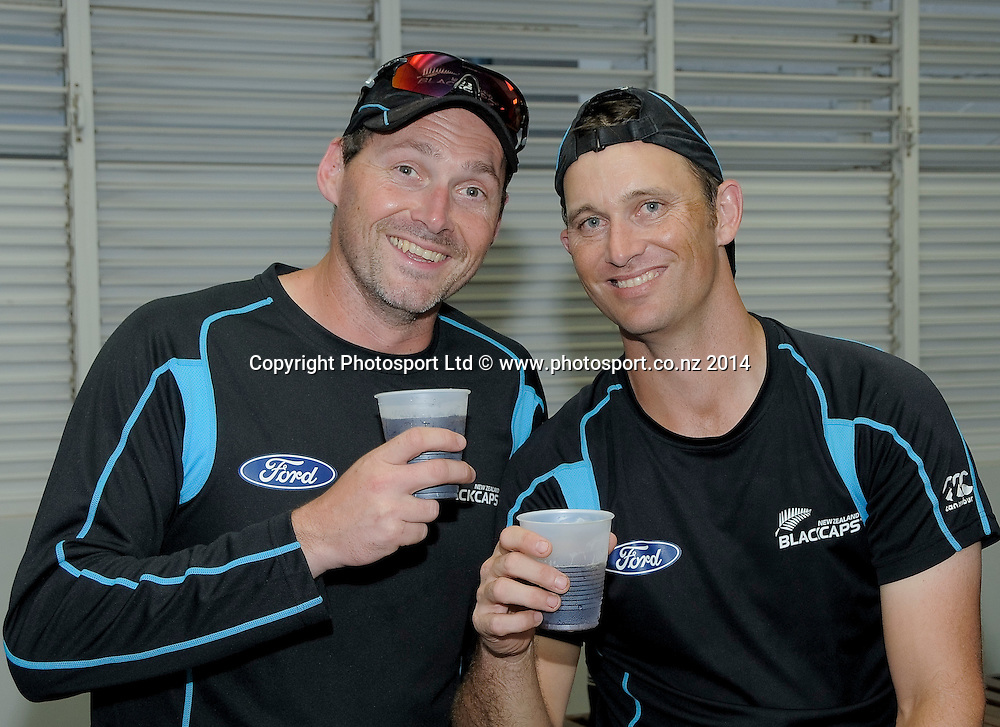 Shane Bond, New Zealand celebrate after the fifth and final day of the Third and Final Test West Indies v New Zealand at Kensington Oval, Barbados. 30 June 2014.<br /> Photo: Randy Brooks