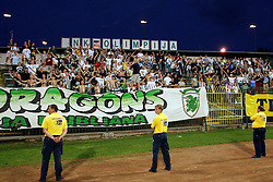 """Green Dragons, fans at the last game of Slovenian """"golden team"""" at Bezigrad stadion for football made by Joze Plecnik in year 1935, before rebuilded in 2008. The match was held on June 18, 2005. (Photo by Vid Ponikvar / Sportal Images).."""