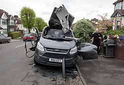 © Licensed to London News Pictures. 28/04/2017; Bristol, UK. Damage to a van caused by an exploding gas cylinder in the Redland area of Bristol this morning. A man was taken to hospital to be treated for his injuries after an explosion in a van. Photo credit : Simon Chapman/LNP