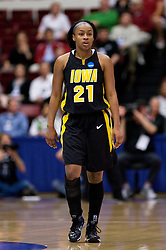 March 22, 2010; Stanford, CA, USA;  Iowa Hawkeyes guard Kachine Alexander (21) during the first half against the Stanford Cardinal in the second round of the 2010 NCAA womens basketball tournament at Maples Pavilion. Stanford defeated Iowa 96-67.