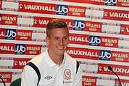 Steve Morison of Wales . Wales football players media session at St.Davids Hotel in Cardiff on Tuesday 4th Sept 2012, the Welsh players talk about their forthcoming World cup qualifier against Belgium on Friday 8th Sept.  pic by  Andrew Orchard, Andrew Orchard sports photography,