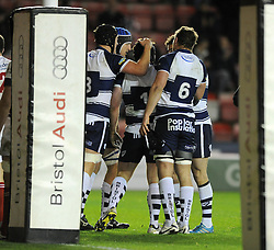 Bristol Rugby loosehead prop, Kyle Traynor celebrates his try with team mates - Photo mandatory by-line: Dougie Allward/JMP - Mobile: 07966 386802 - 05/12/2014 - SPORT - Rugby - Bristol - Ashton Gate - Bristol Rugby v London Scottish - B&I Cup