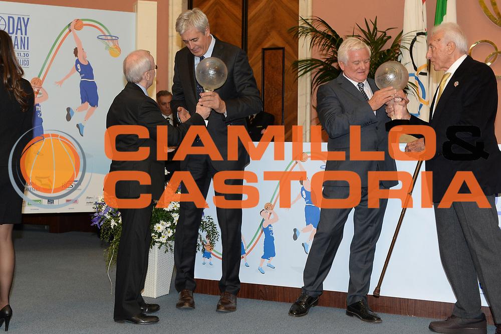 DESCRIZIONE : Roma Basket Day Hall of Fame 2013<br /> GIOCATORE : Dan Peterson Renato Villalta Carlo Caglieris Alessandro Gamba<br /> SQUADRA : FIP Federazione Italiana Pallacanestro <br /> EVENTO : Basket Day Hall of Fame 2013<br /> GARA : Roma Basket Day Hall of Fame 2013<br /> DATA : 09/12/2013<br /> CATEGORIA : Premiazione<br /> SPORT : Pallacanestro <br /> AUTORE : Agenzia Ciamillo-Castoria/GiulioCiamillo