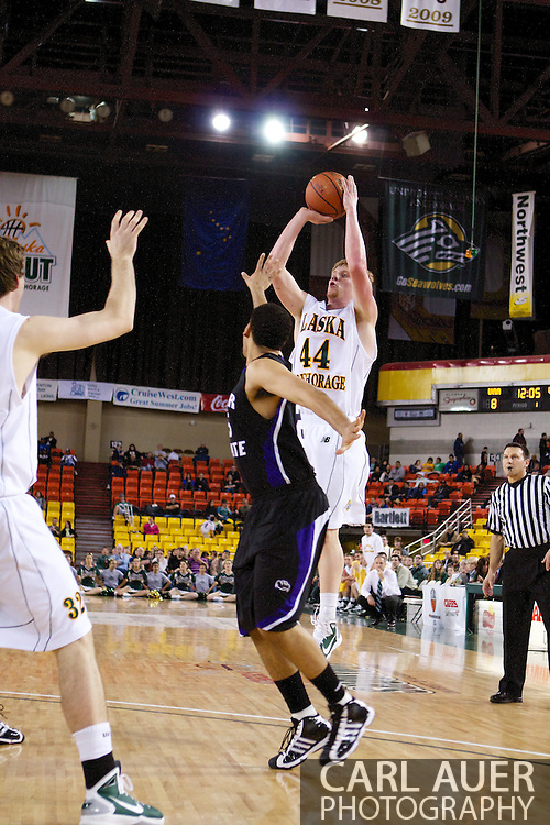 November 25th, 2010:  Anchorage, Alaska - University of Alaska-Anchorage foreward Casey Robinson (44) attempts jumper in the Seawolves 54-86 loss to Weber State in the first round of the Great Alaska Shootout.