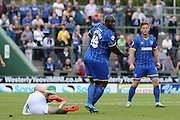 Bayo Akinfenwa of AFC Wimbledon during the Sky Bet League 2 match between Yeovil Town and AFC Wimbledon at Huish Park, Yeovil, England on 12 September 2015. Photo by Stuart Butcher.