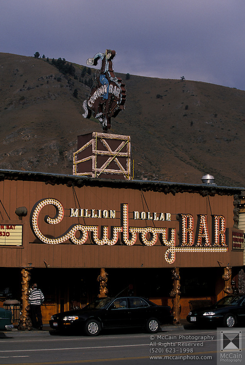 Exterior facade of Million Dollar Cowboy Bar, Jackson, Wyoming...Subject photograph(s) are copyright Edward McCain. All rights are reserved except those specifically granted by Edward McCain in writing prior to publication...McCain Photography.211 S 4th Avenue.Tucson, AZ 85701-2103.(520) 623-1998.mobile: (520) 990-0999.fax: (520) 623-1190.http://www.mccainphoto.com.edward@mccainphoto.com.