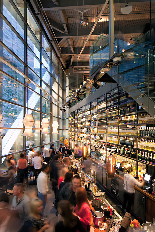 Bar in London, interior, night, people, movement, blur, evening, dusk