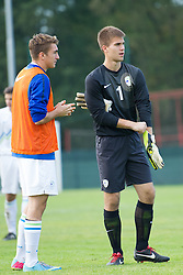 Bian Paul Sauperl and Gregor Zabret of Slovenia during football game between Slovenia and Andorra of UEFA Under19 Championship Qualifications, on October 15, 2013 in Bakovci, Slovenia. (Photo by Erik Kavas / Sportida)
