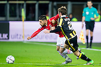 ALKMAAR - 06-02-2016, AZ - Vitesse, AFAS Stadion, AZ speler Alireza Jahanbakhsh, Vitesse speler Sheran Yeini