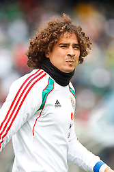 March 26, 2011; Oakland, CA, USA;  Mexico goalkeeper Guillermo Ochoa warms up before the game against Paraguay at Oakland-Alameda County Coliseum.
