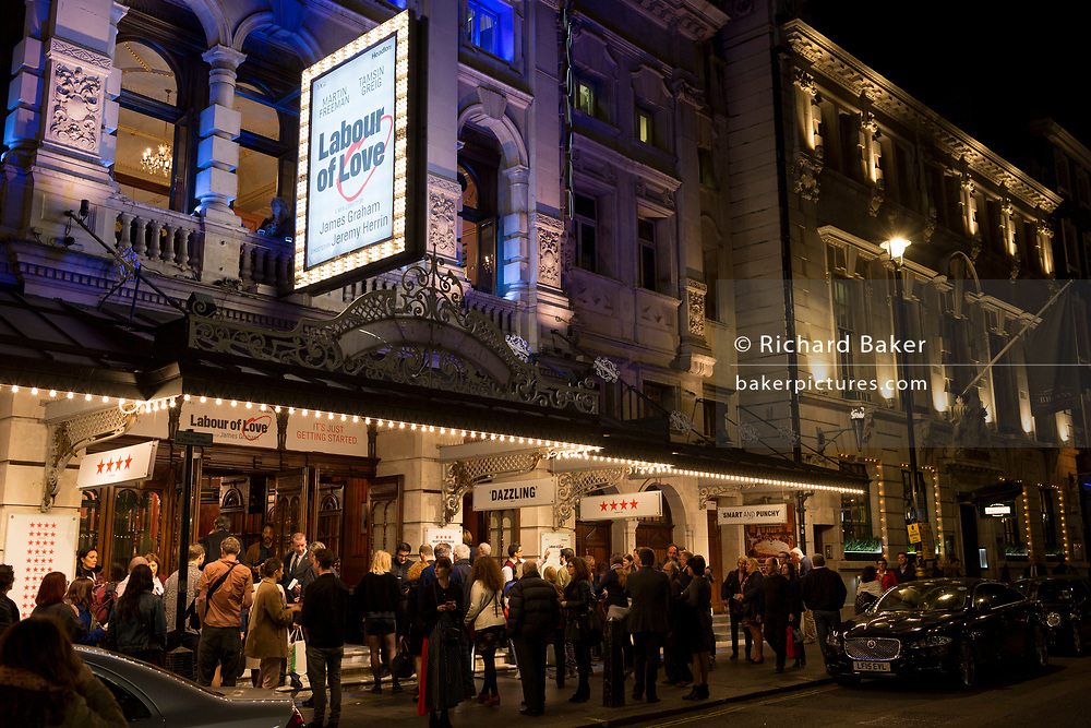 Theatre-goers outside the Noel Coward Theatre in St. Martin's Lane queue to see Labour of Love, a political comedy by James Graham and starring Martin Freeman and Tamsin Greig, on 16th October 2017, in London, England.