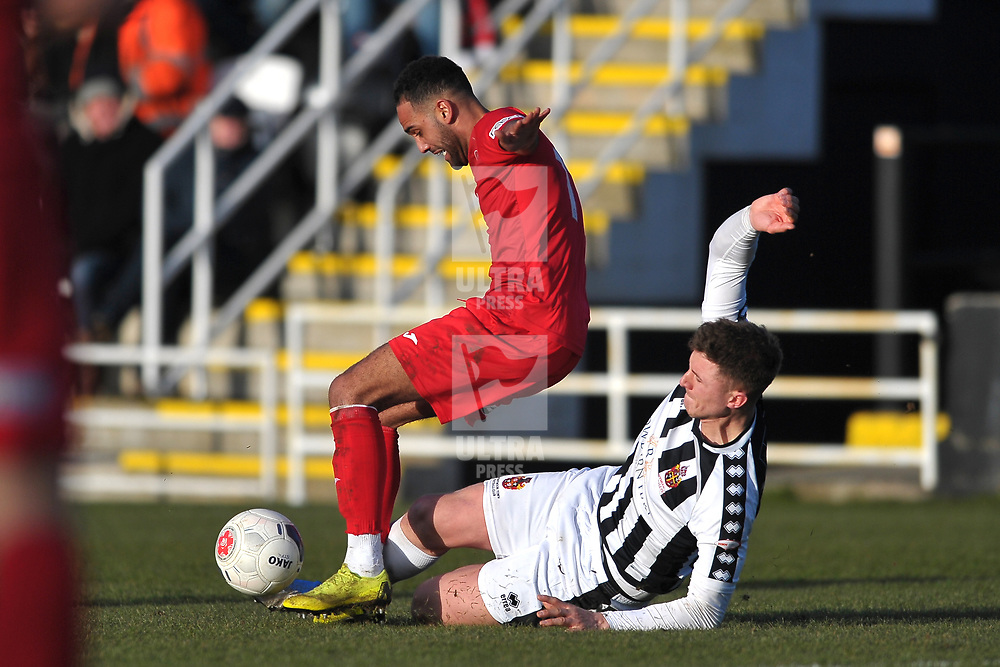 TELFORD COPYRIGHT MIKE SHERIDAN Brendon Daniels of Telford is tackled  during the Vanarama Conference North fixture between Spennymoor Town and AFC Telford United at Brewery Field, Spennymoor on Saturday, February 29, 2020.<br /> <br /> Picture credit: Mike Sheridan/Ultrapress<br /> <br /> MS201920-048