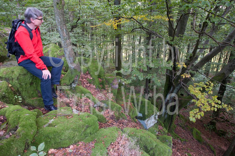 Wanderer, Felsen auf dem Katzenbuckel, höchster Punkt des Odenwaldes (626m), Walldürn, Odenwald, Naturpark Bergstraße-Odenwald, Baden-Württemberg, Deutschland | Katzenbuckel, highest hill in Odenwald, Baden-Wuerttemberg, Germany