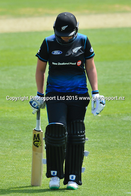 Rachel Priest of New Zealand walks off after making 157 out during the 3rd ODI cricket match, White Ferns V Sri Lanka, at the Bert Sutcliffe Oval, Lincoln, New Zealand. 7rd November 2015. Copyright Photo: John Davidson / www.photosport.nz