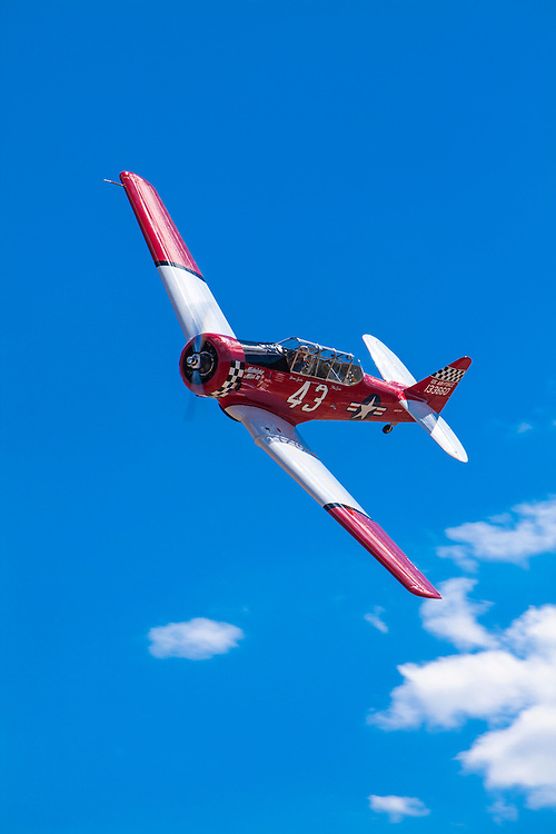 "AT-6 ""Midnight Miss III"", flown by Dennis Buehn of Carson City, Nevada in the T-6 Gold Race, Sunday at Reno."