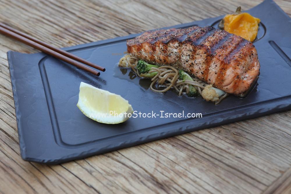 Char grilled salmon in teriyaki sauce