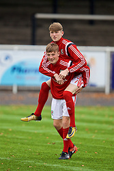 MERTHYR TYDFIL, WALES - Thursday, November 2, 2017: Wales' Sam Reynolds and Chris Craven during the pre-match warm-up before an Under-18 Academy Representative Friendly match between Wales and Newport County at Penydarren Park. (Pic by David Rawcliffe/Propaganda)