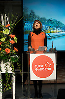 Minna Arve, Chairman of the turku city Council give speach at Turku-European Capital of Culture 2011 is officially opening. January 14th, 2011, Turku, Finland.